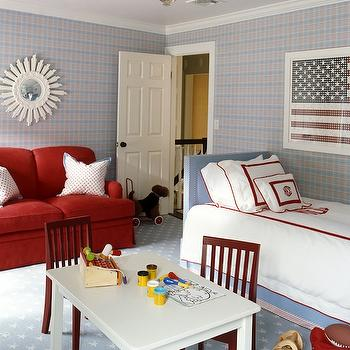 Ashley Whittaker Design - boy's rooms - blue, twin, headboard, nailhead trim, red, monogrammed, duvet, shams, red, border, blue, stars, carpet, red, rolled-arm, sofa, white, sunburst, mirror, white, table, red, chairs, red white and blue boys room, red white and blue boys bedroom,