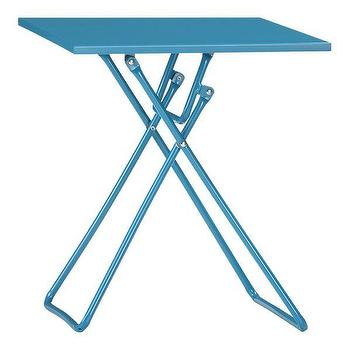 Tables - To-Go Turquoise Folding Side Table in Outdoor Lounging | Crate and Barrel - turquoise, to-go, folding, side, table