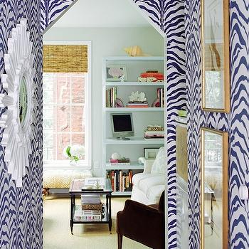 Ashley Whittaker Design - living rooms - blue, zebra, wallpaper, white, sunburst, mirror, gold, frames, zebra wallpaper, blue zebra wallpaper, white and blue zebra wallpaper, Rose Cumming Zebrine Wallpaper,