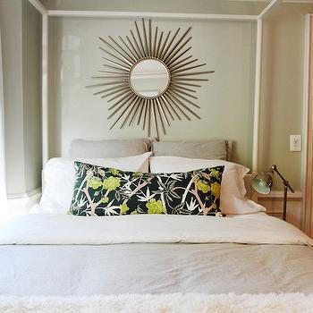 The Every Girl - bedrooms - green, walls, gray, duvet, shams, black, green, floral, lumbar, pillow, Ikea, Edland, bed, headboards ikea, ikea headboards, ikea beds, ikea poster bed, ikea canopy bed, , Kenroy Home Reyes Wall Mirror, Ikea Barometer Lamp,