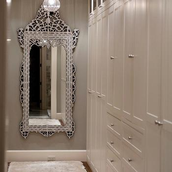Kruger Design Studio - closets - walk-in, gray, walls, venetian, floor mirror, floor to ceiling, white, built-in, cabinets, venetian floor mirror, closet mirror,