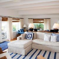 Kruger Design Studio - living, rooms:, blue, white, stripe, seaside, nautical, coastal, linen, sectional, woven, chairs, white, drapery, panels, matchstick, blinds,