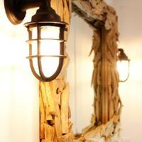 Kruger Design Studio - bathrooms - seaside nautical coastal vanity mirror drift wood sconces, driftwood mirror, rectangular driftwood mirror, rectangle driftwood mirror,