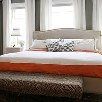 The Every Girl - bedrooms - gray, walls, white, drapes, monogrammed, shams, white, orange, duvet, white, vintage, nightstands, bed in front of window, Crate & Barrel Colette Bed,