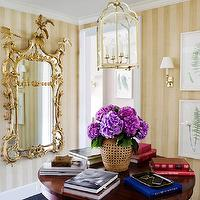 Ashley Whittaker Design - entrances/foyers - striped, walls, brass, lantern, round, pedestal, dining table, framed, fern, prints, ornate mirror, gold mirror, gold ornate mirror, ornate gold mirror,