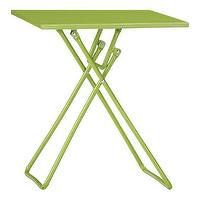 Tables - To-Go Green Folding Side Table in Outdoor Lounging | Crate and Barrel - green, to-go, folding, side, table
