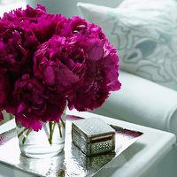 Ashley Whittaker Design - bedrooms - peonies, hammered, silver, tray, bone, inlay, box,  Glam vignette with hammered silver tray, bone inlay