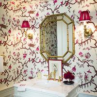 Ashley Whittaker Design - bathrooms - pink, brown, chinoiserie, wallpaper, chair rail, wainscoting, antique brass, sconces, pink, shades, flanking, gold, faux bamboo, mirror, white, single bathroom vanity, marble, top, faux bamboo mirror, bamboo mirror, gold faux bamboo mirror, gold bamboo mirror,