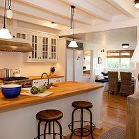 Kruger Design Studio - kitchens - seaside, nautical, coastal, island, pulley, lights, white, blue, glass, cabinet, vintage, fir, floor,  Seaside