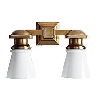 Ace Double Sconce, Hand-rubbed Brass, Serena & Lily