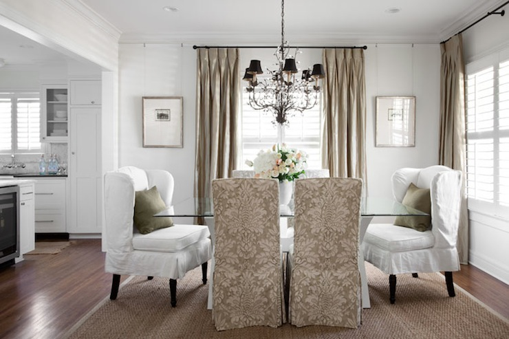 Heather Scott Home - dining rooms - silk, taupe, drapes, sisal, rug, glass, top, white, x, base, dining table, white, wingback, slipcover, captain, dining chairs, green, pillows, damask chairs, damask dining chairs,