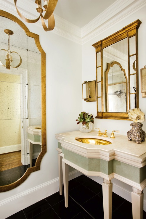 Gold Tone Vanity Lights : Gold French Mirror - French - bathroom - J. Hirsch Interior Design