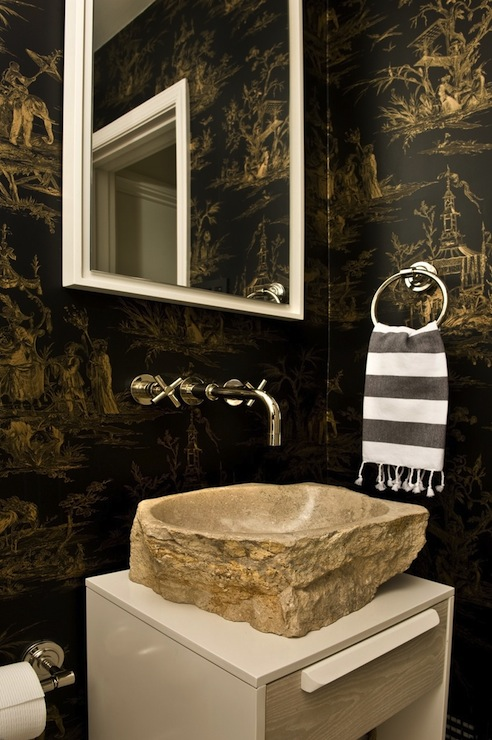Stone Vessel Sink Eclectic Bathroom Huntley Amp Company