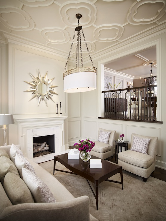 Quatrefoil Ceiling Transitional Living Room Khachi