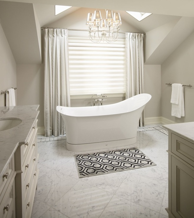 Khachi Design Group - bathrooms - gray, walls, skylights, ivory, silk, drapes, freestanding, tub, marble, tiles, floor, marble, mosaic, inset, tiles, gray, hex, pattern, bath, mat, ivory, single bathroom vanity, marble, top, bathroom skylight, skylight bathroom,