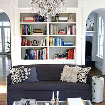 From the Right Bank - living rooms - white, built-ins, navy blue, slipcover, sofa, gray, flowers, pillow, ivory, shag, rug, navy blue sofa, navy sofa, slipcovered navy sofa, navy slipcovered sofa,