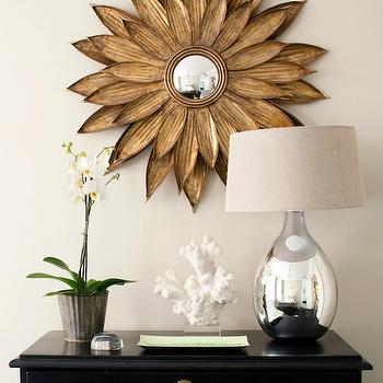 Skonahem - entrances/foyers - gold, sunburst, mirror, glossy, black, painted, chest, orchid, mercury glass, lamp, sunburst mirror, gold sunburst mirror, , Sunflower Antiqued Gold Wall Mirror,