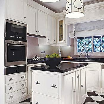 Traditional Home - kitchens - black, white, checkered, tiles, floor, white, kitchen cabinets, black, granite, countertops, checkered floor, checkered tile, checkered tile floor, checkered tiled floor, checkered kitchen floor, black and white checkered floor,
