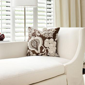 Cindy Ray Interiors - living rooms - ivory, silk, drapes, white, skirted, daybed, chocolate, brown, linen, pillow, slipcovered chaise lounge, chaise lounge,