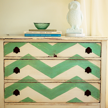 entrances/foyers - green, chevron, pattern, vintage, chest, dresser, accent chest, painted accent chest, chevron chest, chevron painted chest,
