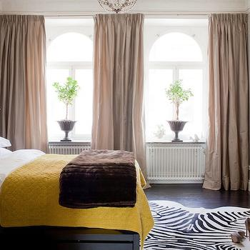 Skonahem - bedrooms - taupe, silk, organze, drapes, gray, tufted, headboard, chocolate brown, faux, fur, throw, layered, yellow, blanket, zebra, cowhide, rug, black, chest, yellow blanket,