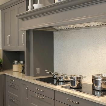 Aidan Design - kitchens - mosaic, glass tiles, backsplash, gray, kitchen cabinets, granite, countertops, gray kitchen cabinets, gray kitchens, gray cabinets,