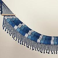 Decor/Accessories - Tassled & Striped Hammock - Cobalt/Turq - tassled, striped, hammock, cobalt, turquoise
