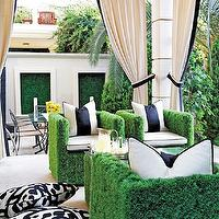 Traditional Home - decks/patios - faux grass, chairs, tables, black, white, stripe, awning, pillows, b lack, white, pillows, ivory, outdoor, drapes, black, ribbon, trim,