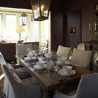 Westbrook Interiors - dining rooms - gray, walls, iron, lanterns, reclaimed, wood, dining table, linen, slipcover, dining chairs,  Amazing dining