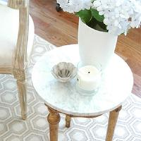 From the Right Bank - living rooms - French, marble, top, wood, accent table, French, Louis, chair, hydrangeas, david hicks rug, geometric rug, hex rug, hexagon rug, hexagonal rug, david hicks hex rug, david hicks hexagon rug, david hicks hexagonal rug, david hicks geometric rug, david hicks colony rug,