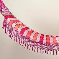 Decor/Accessories - Tassled & Striped Hammock - Orange/Pink/White - tassled, striped, hammock, orange, pink, white