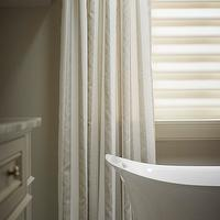 Khachi Design Group - bathrooms - ivory, silk, tone on tone, drapes, freestanding, tub, marble, tiles, floor, mosaic, marble, inset, tiles, two tone curtains, two tone drapes, striped curtains, striped drapes,