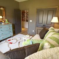 Westbrook Interiors - boy&#039;s rooms - Benjamin Moore - Rustic Taupe - taupe, walls, blue washed, vintage, chest, gray, doors, green, striped, pillows, taupe paint, taupe paint colors, taupe paint color, taupe walls, taupe color paint,