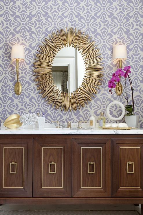 Artistic Designs for Living - bathrooms - Arteriors Prescott Gold Iron Oval Mirror, Ruhlmann Sconce, antique, brass, oval, mirror, sconces, lilac, floral, wallpaper, wood, , bathroom cabinet, gold, trim, marble, top, gold, tray, prescott gold iron oval mirror, iron oval mirror, gold oval mirror,