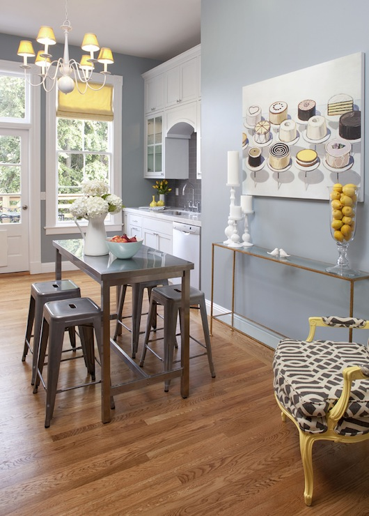 Artistic Designs for Living - kitchens - Tolix Marais Stool, Kelly Wearstler Imperial Trellis - Parchment/Midnight, yellow, Bergere, chair, blue, walls, white, kitchen cabinets, marble, top, metal, kitchen island, brass, slim, console, table, industrial island, industrial kitchen island,