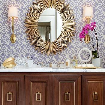 Wilderness Wallpaper Transitional Bathroom Bijou And