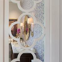 Artistic Designs for Living - bathrooms - white, quatrefoil, mirrored, cabinet, quatrefoil mirror,  White quatrefoil pattern mirrored cabinet.