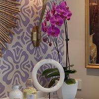 Artistic Designs for Living - bathrooms - lilac, floral, wallpaper, antique brass, mirror, marble, top, gold, tray, orchid, Ruhlmann Single Sconce, Arteriors Prescott Gold Iron Oval Mirror, Ruhlmann Sconce,