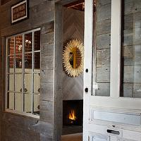 Artistic Designs for Living - entrances/foyers - glass-front, sliding, barn door, modern, fireplace, sunburst, mirror, sliding door,  Glass-front