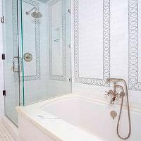 Artistic Designs for Living - bathrooms - marble, basketweave, tiles, seamless, glass shower, rain, shower head, marble, subway tiles, backsplash, marble, inset, tiles,
