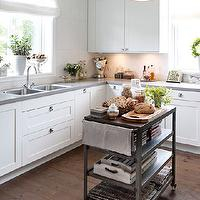 Hus & Hem - kitchens - floor to ceiling, white, kitchen cabinets, gray, quartz, countertops, white, linen, roman shade, metal, industrial, kitchen island, hand scraped, wood floors,
