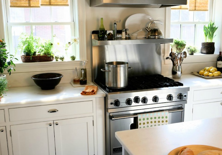 Sage Design - kitchens - stainless steel, shelves, white, kitchen cabinets, kitchen island, marble, countertops, cooktop backsplash, stainless steel backsplash, stainless steel cooktop backsplash,