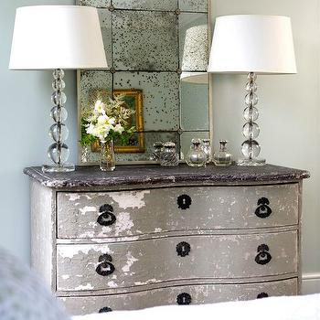 Sage Design - girl's rooms - green, walls, vintage, dresser, stacked glass, lamps, antique mirror, distressed chest. gray distressed chest, gray washed chest,