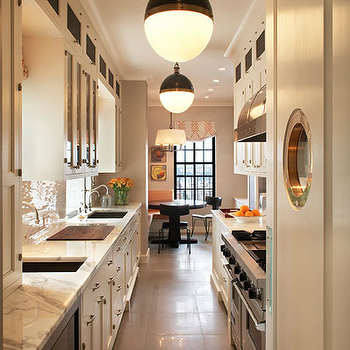 David Scott Interiors - kitchens - galley kitchen, white galley kitchen, galley kitchen design, galley kitchen cabinets, white galley cabinets, white galley kitchen cabinets, Thomas O'Brien Hicks Pendant,