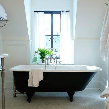 Sage Design - bathrooms - white, cafe, curtains, cast iron, clawfoot, tub, marble, hex, tiles, floor, cast iron tub, cast iron bathtub,  Lovely