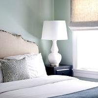 Sage Design - bedrooms - green, walls, linen, roman shade, white, double gourd, lamp, linen, headboard, teal, damask, pillow, blue, damask, blanket, glossy, black, nightstand,