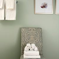 Sage Design - bathrooms - green, walls, teal, damask, slipper chair, damask chair, teal chair, teal damask chair,  Green bathroom with green