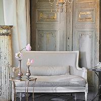 Aidan Gray Home - living rooms - antique, French, doors, rustic, wood floors, french settee, linen settee, linen french settee, gray settee, gray linen settee, gray french settee, upholstered settee, upholstered french settee, Aidan Gray Isla Settee, Aidan Gray Astre Side Table,