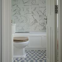 bathrooms - white, blue, diamond, tiles, floor, marble, stacked, tiles, shower surround,  Gorgeous bathroom with marble stacked tiles shower