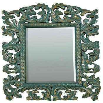 Large Baroque Acanthus Mirror in Cyan